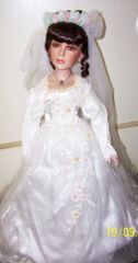 "DUCK HOUSE DOLLS: 22"" Porcelain Collectible BRIDE DOLL with Stand - OKSANA"