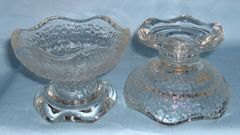 CANDLE HOLDERS Pair Reversible Glass CANDLESTICK HOLDERS / Small Bowls