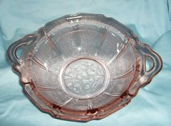 PINK DEPRESSION BOWL - Glass Handle Bowl 1930-39 Jeannette Glass Company Cherry Blossom