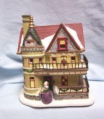CHRISTMAS VILLAGE BULIDING: Fiber Optic THE HOUSE Ceramic