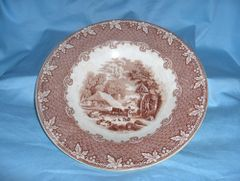 """Antique OLD HALL Round Smooth Vegetable SERVING BOWL Farm Brown 9 1/4"""" dia."""