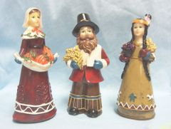 """COLLECTIBLE FIGURINES: Set of (3) Thanksgiving Figurines by K's Collection 6 3/4"""" tall"""