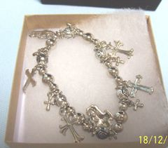 JEWELRY: Silver Color Beads Stretch Bracelet Different Dangling Cross Charms Joycelyn Collection
