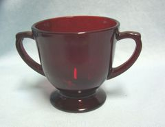 SUGAR BOWL: Vintage R4000 Royal Ruby Red Open Footed Sugar Bowl Anchor Hocking