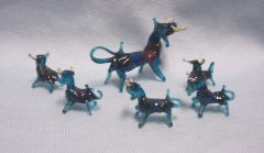 MINIATURES: Set of (6) Miniature Teal Blown Glass Bulls Collectible Figurines