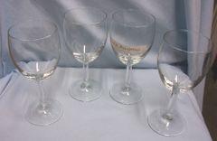 "WINE GLASSES: Set of (4) Clear Glass Barware Stemmed Wine Glasses 3"" Diameter 7"" Tall"