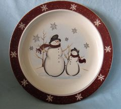 PLATE - Stoneware Dinner Plate Holiday Snowmen Royal Seasons RN-1
