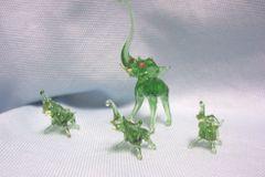 MINIATURES: Set (4) Miniature Green Blown Glass Elephants Collectible Figurines