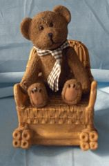 "MUSIC BOXES: Cute 5 3/4"" tall Teddy Bear in Rocker Wind Up Music Box"