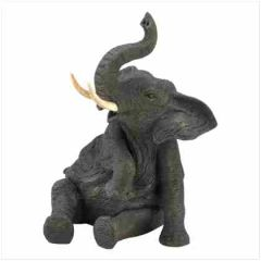 ELEPHANT ANIMAL FIGURINE - Wildlife Baby Porcelain Elephant Figurine 7.5""