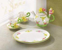 MINATURE TEA SET: 2007 Collectible Fairy Mini 7 Pc Tea Set w/Pink, Yellow & Green Flowers #34323