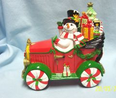 CHRISTMAS DECORATION: Musical Top Hat Frosty by Fitz & Floyd - We Wish you a Merry Christmas