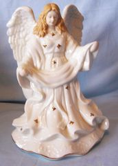 "MUSICAL ANGEL FIGURINE Porcelain 9"" Cracker Barrel Old Country Store - SILENT NIGHT"
