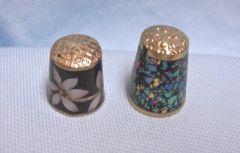 Thimbles: Pair Old Mexican Silver Metal Thimbles with Abalone Design Set #6-2