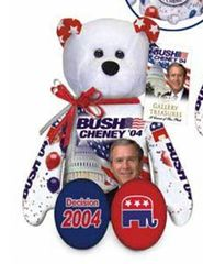 "GEORGE W. BUSH: Plush Collectible 9"" Patriotic Teddy Bear By Limited Treasures"