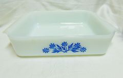 "BAKING DISHES: Anchor Hocking Fire King 8"" Square Baking dishes Blue Cornflower Design"