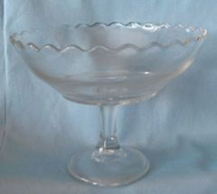 "DECORATIVE BOWL: Vintage Pedestal Round Clear Glass Bowl Scalloped Edges 5 1/4"" tall"
