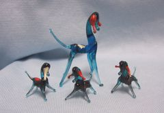 MINIATURES: Set (4) Blue Blown Glass Mommy Goat with 3 Kids Collectible Figurines
