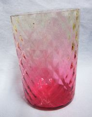 Antique 1800s Victorian Amberina Collectible Art Glass Tumbler Diamond Pattern Cranberry Ruby Color