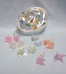 HAIRCLIPS: Set of (12) Zipper Pouches with 6 Pairs of Multi-Color Butterfly hair Clips Ages 4+