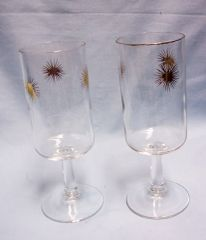 STEMMED GLASSES: Pair Vintage Stemmed Starburst Atomic Gold Glasses