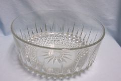 "BOWL: Large Salad Bowl Serving Bowl by Arcoroc Clear Glass Diamond Cut Pattern 9"" Diameter"