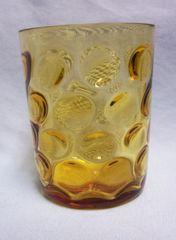DRINKING GLASS: Vintage Hazel Atlas Amber Eldorado Dots Tumbler Drinking Glass 1960s