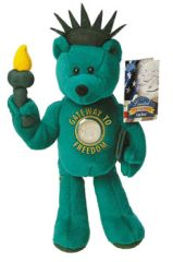 "COIN BEAR Lady Liberty 9"" COLLECTIBLE PLUSH BEAR w/ New York State Coin LIMITED TREASURES"