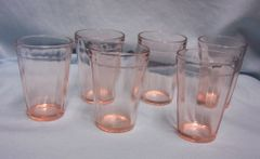 GLASSWARE: Set (6) Pink Depression Glass Anchor Hocking OPTIC PANEL RIB Juice Glasses