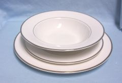 DISHES: Mikasa Ultima+ (3) Piece Super Fine China Setting Dinnerware - Cameo Platinum