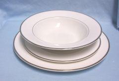 DISHES: Mikasa Ultima+ (3) Piece Super Fine China Setting Dinnerware - Cameo Platinum