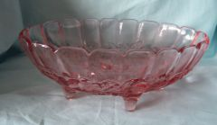 "CENTERPIECE BOWL - Indiana Glass Bowl Pink Harvest Grapes 12"" Long x 4.5"" Tall"