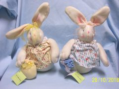 EASTER BUNNIES: Pair Plush Beanbag Bunnies to add to your Home Decor for Easter by Tj Collectibles