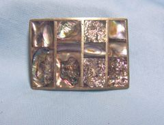 JEWELRY: Vintage Belt Buckle Mexican Silver Decorated with Beautiful Abalone Squares