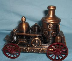 COLLECTIBLE PROMOTIONAL BANKS: Banthrico Inc Vintage Steam Engine Coin Bank PEOPLE'S BANK OF BLOOMINGTON, IOWA USA