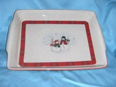 BAKING CASSEROLE DISH Baker's Stoneware Christmas Snowmen Rectangular ROYAL SEASONS