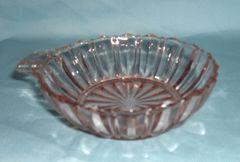 """BOWL: Vintage Depression Glass Berry Bowl Fortune Hocking Handled Pink Bowl 4 1/2"""""""