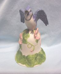 COLLECTIBLE BELL: 2001 Avon Ceramic Bell Blue Jay on Top of White Bell with Pink Flowers