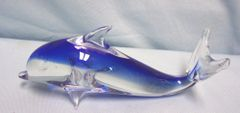 "GLASS DOLPHIN: Decorative Glass Blue Dolphin 3 1/4"" Tall Figurine Paperweight"