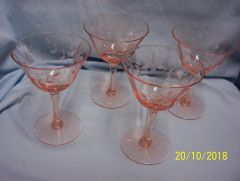STEMMED GLASSWARE: Pink Depression Glass Set (4) Etched Champagne/Sherbet Glasses