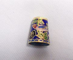 Thimbles: Mexican Silver Thimble Abalone Design Bird & Red Flowers on Blue Background