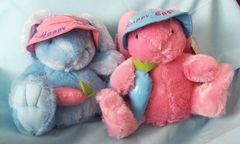 "PLUSH EASTER BUNNIES: Pair Pink & blue Furry Friends 5 1/2"" Easter Bunnies by Easter Expressions"