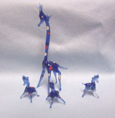 MINIATURES: Set of (4) Miniature Blown Glass Blue Giraffe Collectible Figurines