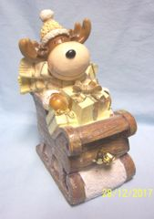 "HOLIDAY MOOSE FIGURINE: Cute Holiday Moose in Sled with Presents Figurine 10"" in Height"