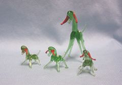MINIATURES: Set (4) Vintage Miniature Green Blown Glass Goat and Kids Collectible Figurines