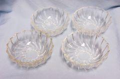 SET (4) DESSERT BOWLS: Set of (4) Clear Glass Dessert Bowls with Swirl Pattern