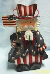 "CANDLE HOLDER - Patriotic Uncle Sam Candle Lantern Holiday Decoration 11 3/4"" tall Metal"
