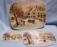 HOT PADS: Set (3) Hot Pads with Cork Backs Wintery Scenes perfect for your Table Decor