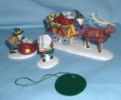 "HOLIDAY DECORATION: Set 3 piece 1990s Hand-painted Porcelain Figurines ""Letters for Santa"" Dickens Dept. 56"