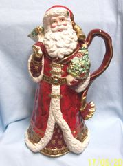 "CHRISTMAS DECORATION: Holiday Santa 14"" Decorative Pitcher by Fitz and Floyd"